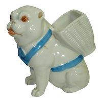 Early Porcelain Pug Dog Figural Match Holder w Striker