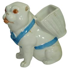 Early Porcelain Pug Dog Figural Match Holder w Striker