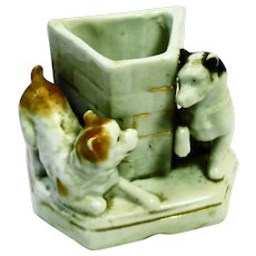 Victorian Playing Dogs Figural Match Holder / Striker