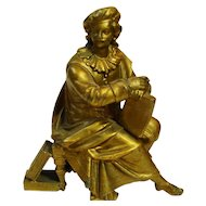 Shakespeare Figural Faux Bronze Antique Clock Statue