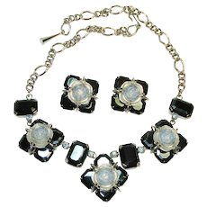 Dramatic Dior Faux Moonstone Black Glass Demi Parure