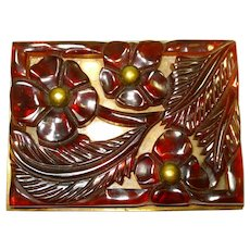 Huge Art Deco Carved Bakelite Brooch