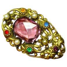 Huge Czech Jeweled Amethyst Glass Dress Clip