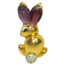 Huge H. Pomerantz Jeweled Rhinestone Rabbit Brooch
