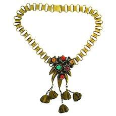 Huge Art Deco Jeweled Bookchain Necklace
