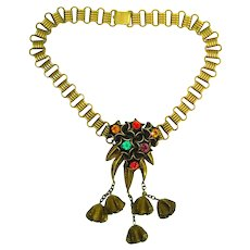 Huge Funky Chunky 1930s Jeweled Bookchain Necklace