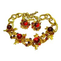Ultra Glam Ruby Red Jeweled Demi Parure