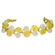 Pennino Iridescent Faux Moonstone Jeweled Bracelet