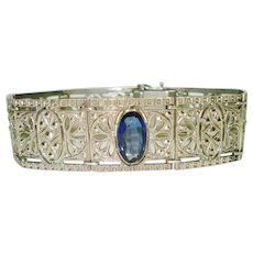Fine Art Deco Sapphire Glass Jeweled Bracelet
