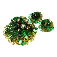 LG Czech Intricate  Beaded and Rings Brooch ER Set