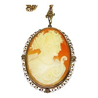 Huge Hand Carved Goddess Diana Cameo Necklace Brooch