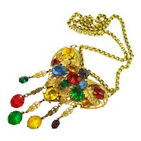 Huge Jeweled Czech Glass Heart Shaped Necklace