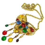 Huge Jeweled Czech Glass Heart Shaped Necklace