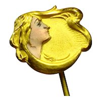 Exquisite Art Nouveau Enamel Lady Face Stick Pin 1a