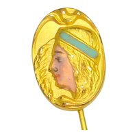 Art Nouveau Enamel Lady Face Stick Pin 2a