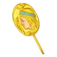 Elegant Art Nouveau Enamel Lady Stick Pin 3a