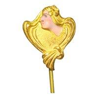 Art Nouveau Enamel Lady Head Stick Pin 6a