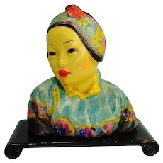 1920's Esther Hunt Oriental Chalkware Bust w Stand