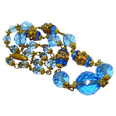 Ornate Czech Jeweled Faceted Glass Bead Necklace