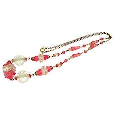 Czech Art Deco Pink & Clear Cut Glass Bead Necklace