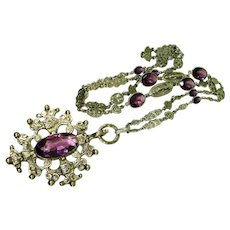 Early 1900s Old Peruzzi Amethyst Glass Ex Long Sautoir Necklace