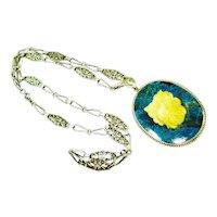 LG Arts & Crafts Sterling Sodalite Pendant Necklace