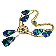 Huge Foiled Peacock Eye Swag Necklace
