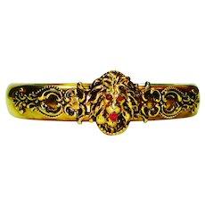 Ornate Victorian Jeweled Lion Bracelet FMC Signed