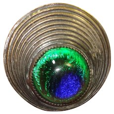 LG Antique Foiled Peacock Eye Glass Button