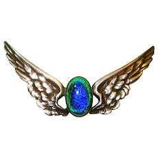 Victorian Foiled Peacock Eye Sterling Wings Pin