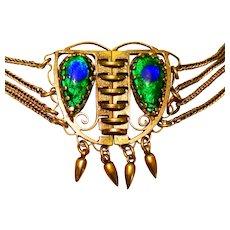 Dbl Sided Peacock Eye Festoon Necklace