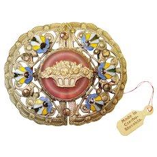 Old Czech Marcasite Enamel Ornate Filigree Belt Buckle w TAG
