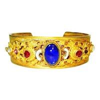 Old Czech Enamel Jeweled Cuff Bracelet