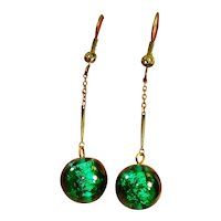 Green Foiled Art Glass Dangle Earrings