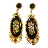 Elegant  Neiger Jeweled Czech Dangle Earrings