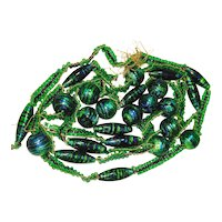 FAB Old Peacock Foil Czech Art Glass Beads