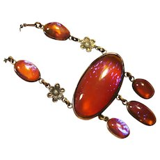 Fiery Dragons Breath Czech Art Glass Sterling Necklace