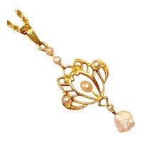 Antique 14k Art Nouveau River Pearl Lavalier Necklace