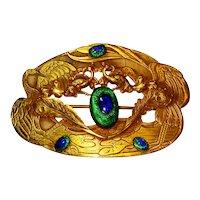 Superb Art Nouveau Peacock Eye Glass Sash Pin