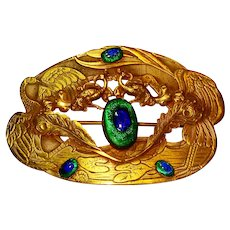Superb Art Nouveau Peacock Eye Glass Sash Pin