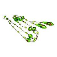 Exquisite Lime Green Czech Foiled Art Glass Sautoir Necklace