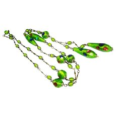 Exquisite Lime Green Czech Foiled Art Glass Sautoir Necklace