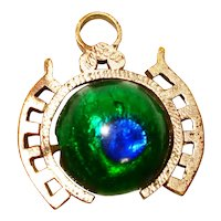 Victorian Foiled Peacock Eye Glass Watch Fob / Pendent / Charm