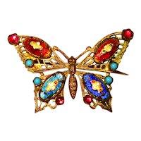 Fine Old Czech Bresse Enamel Gilt Filigree Butterfly Brooch
