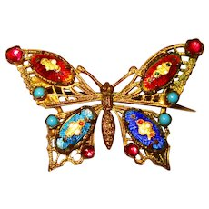 Fine Old Czech Bresse Enamel Gilt Filigree Butterfly Brooch