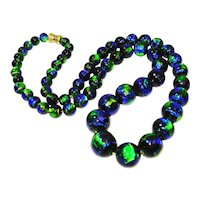 Long Czech Peacock Foil Art Glass Bead Necklace