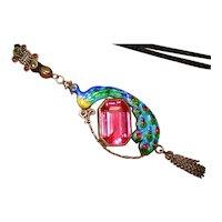 Art Nouveau Sterling Enamel Peacock Necklace
