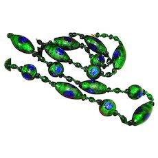 Art Nouveau Foiled Peacock Eye Glass Bead Necklace