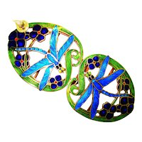 LG Art Nouveau Enamel Dragonflies Sterling Buckle