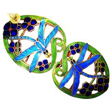 LG Art Nouveau Enamel Dragonflies Sterling Buckle